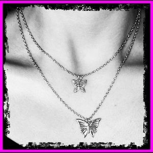 Sterling Silver Butterfly Long Double Necklace